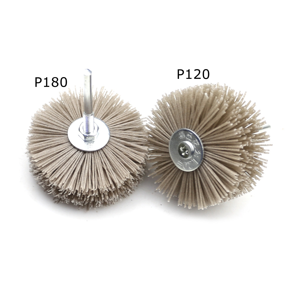 Image 3 - 4 pieces 85*35*6mm Drill Abrasive Wire Grinding Wheel Nylon Bristle Polishing Brush for Wood Furniture Mahogany Finish-in Abrasive Tools from Tools