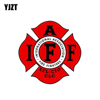 YJZT 12.7CM*12.7CM Creative Internationakl Association Firefighter Funny Car Sticker Decal PVC 12-0470 image