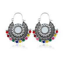 Afghanistan India Jhumka Keemasan Rumbai Laporan Anting-Anting Resin Bead DROP Pendientes Hippie Suku Mesir Nepal Gypsy Oorbellen Perhiasan(China)