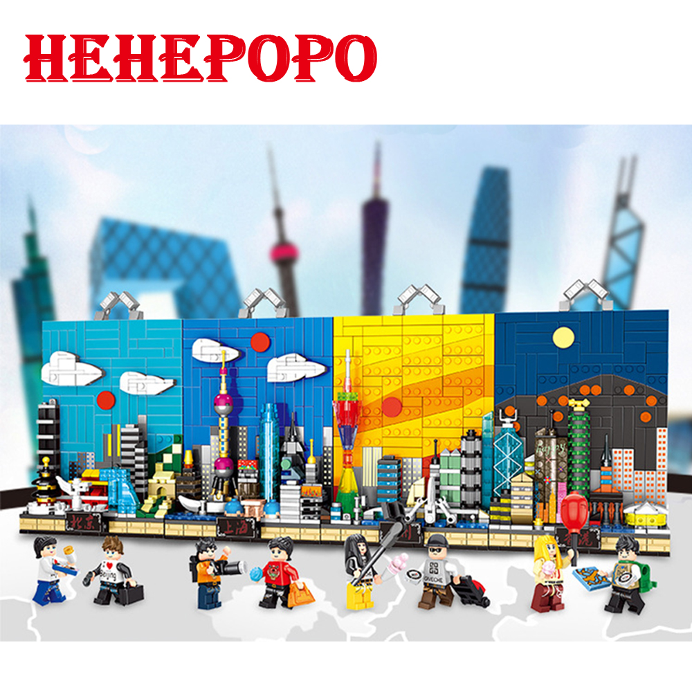 2018 Interesting Chinese City Street View Construction Building Blocks Corner Of Beijing & Shanghai Funny Bricks For Collection beijing insight city guide
