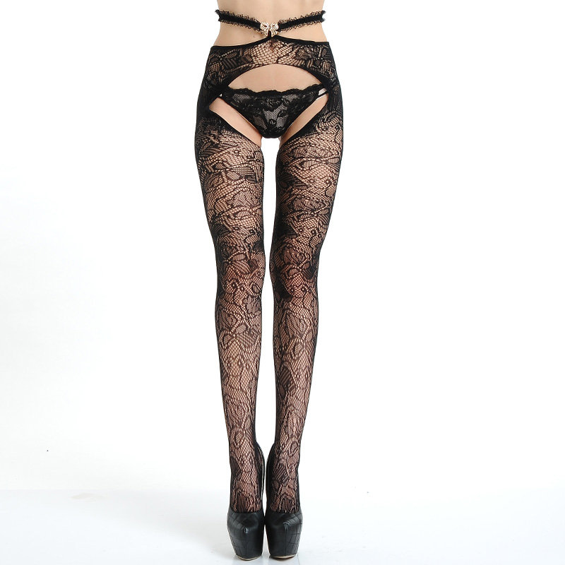 Hot Sale Sexy Pantyhose Open Crot Hollow Out Shinny Fishnet Tights Nylon Women Sexy Lingerie Super Elastic Magical Stockings