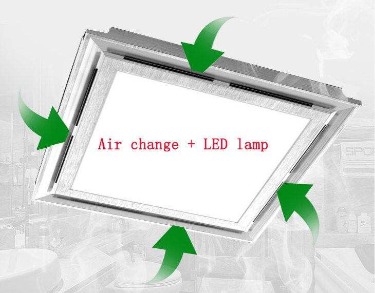 2 in 1 integrated ceiling Ventilator lighting with LED light Exhaust fan Suspended TOILET Ventilating fan Blower 300*300 mm