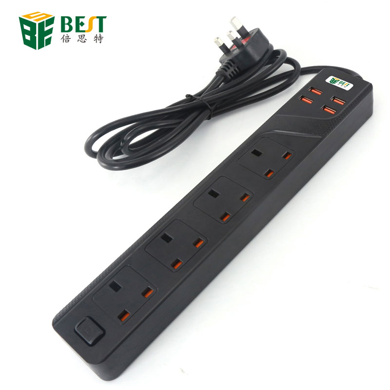 BST-03 NEW Factory Price UK Standard Plug 4 Gang Power Socket 4 Way USB Controlled British Standard Power Extension Socket