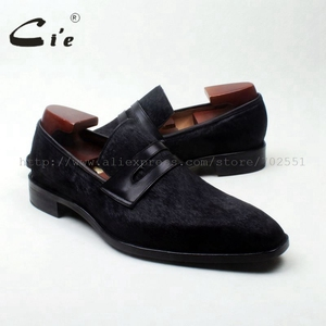 Image 5 - cie square toe penny shoe black horse hair bespoke leather man shoe handmade calf leather breathable genuine slip on loafer126