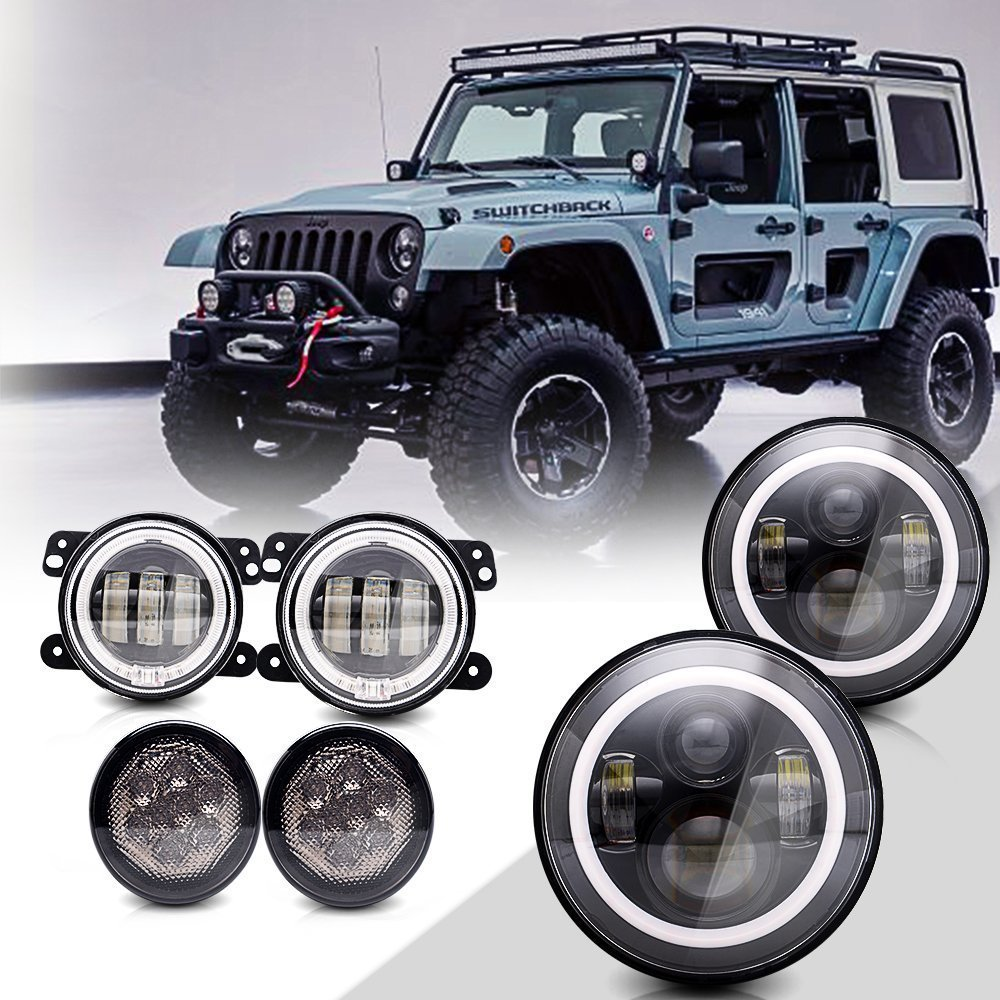 DOT Certified 7 inch Round Projector LED Headlights - Halo DRL Amber Turn Singal Hi/Lo Beam - 4 Halo Bumper Fog Lights