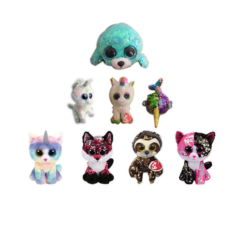 ... TY Beanie Boos 15cm white sequin Unicorn Dog Dange Alpaca Dragon Plush  Toys Big Eyes Eyed ... ec02cd0f568a