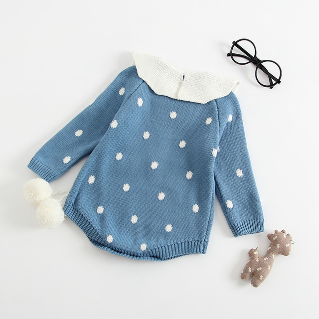 MYUDI – 2018 Newborn Baby Bodysuits Sweater for Girls Infants one-piece Pompom Jumper Children Pullover Lotus Knitted Jumpsuits