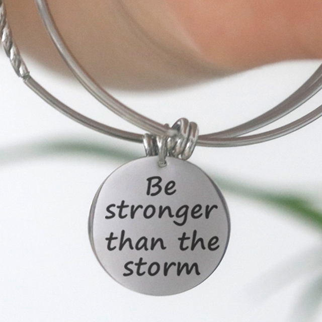 Stainless Steel Adjustable Be Stronger than the Storm Bracelet