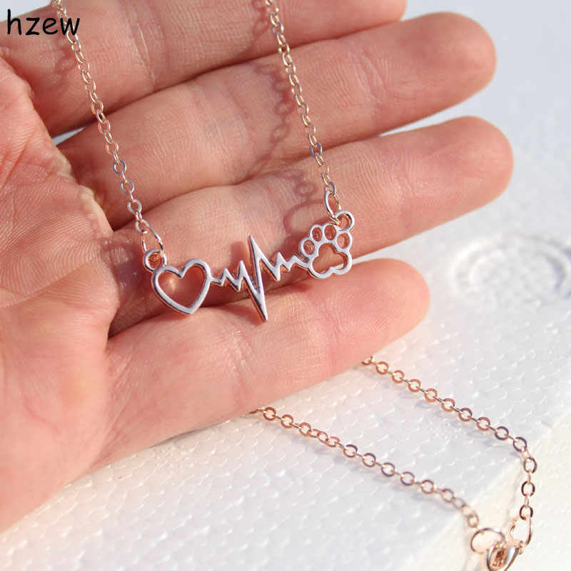 hzew drop ship Beautifully Animal vintage jewelry love Cats and Dogs Paws and heart Heartbeat necklace