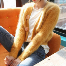 2019 Autumn Winter Sweet Sweater Cardigan Short Loose Long Sleeve Mohair Single Breasted
