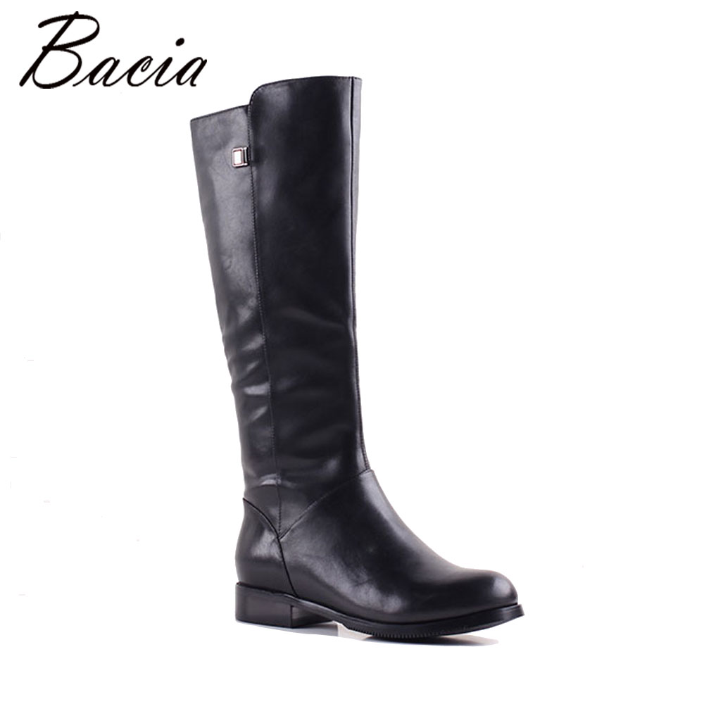 Bacia Genuine Leather Modern Winter Boots Warm Wool Fur Well Retro Concise Women Knee-High Boots Laydies Classic Snow Boot MB007 australia classic lady shoes high quality waterproof genuine leather snow boots fur winter boots warm classic women ug boots