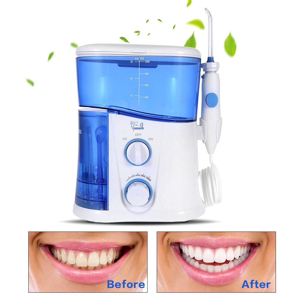 Gustala Professional Power Oral Irrigator Dental Floss Water Flosser Jet Care Teeth Cleaner 7 Tips Family Pack Irrigator Series