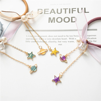 2018 New Simple Star Planet Pearl Crystal Chiffon Bow Rubber Bands Women Girls Cute Elastic Hair Bands Headband Hair Accessories 1