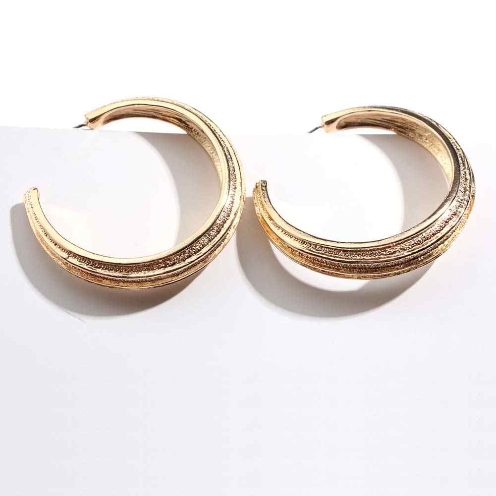 Flatfoosie Brand Punk Circle Hoop Earrings For Women 2018 Fashion Gold Color Simple Round Open Earring Statement Party Jewelry