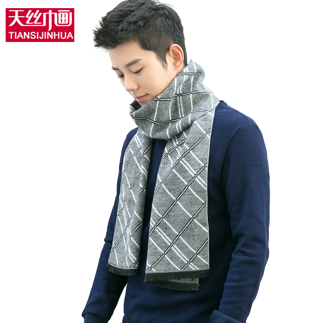 BrandMen lujo bufanda de invierno Bufanda de cachemira y lana Artificial sensación real Los Hombres de Las Borlas/gris color de Las Bufandas para la navidad regalo