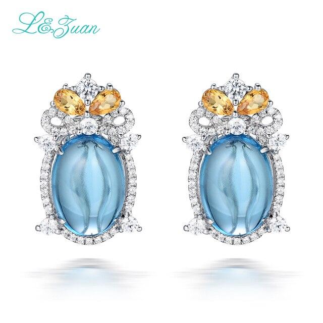 I&Zuan 925 Sterling Silver Stud Earrings For Women Natural 12.27ct Topaz Blue Stone Beautiful Fine Jewelry Luxury Earrings