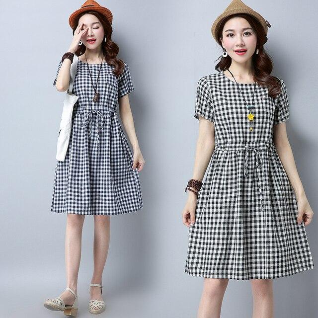 b716de80b0b В специальное предложение каждый день женские Новое летнее платье клетчатые  хлопковые свободные в с длинными рукавами