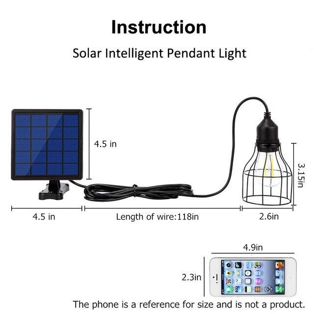 Ousam LED Solar Light Chandelier Lampshade Bulb Solar Panel Lamp 3 Meters String Solar Light Outdoor Hanging Solar Garden Light 1