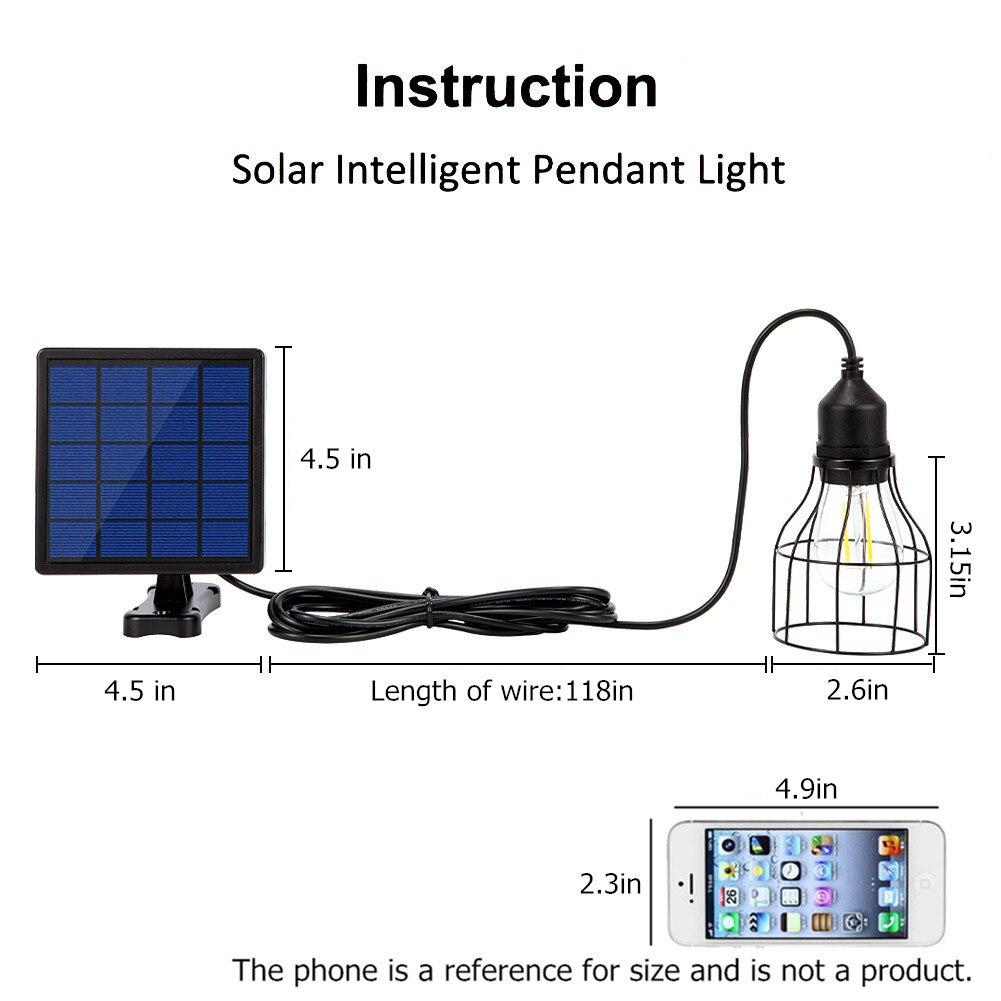 Image 2 - Ousam светодиодный светильник на солнечной батарее, люстра, Подвесная лампа с питанием от солнечной энернии, 3 метра, шнур, традиционная лампа Эдисона, подвесной Солнечный садовый светильникСветодиодные солнечные лампы    АлиЭкспресс