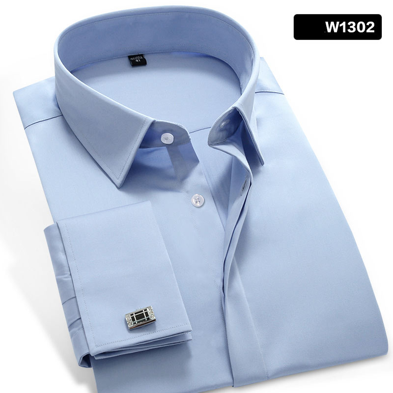 Image 5 - Mwxsd high quality French Men Tuxedo Dress Shirt Mens silk cotton  formal wedding Shirt long sleeve solid male slim Fit shirtTuxedo  Shirts