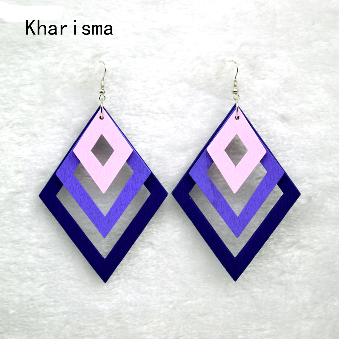 HTB1nTb2V4TpK1RjSZFMq6zG VXa4 - KHARISMA Fashion Blue Multi-layer Wooden Hollow Statement Drop Earrings Ethnic Boho Long Pendant Dangle Earrings For Women Lady