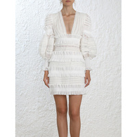 2018 New Arrival Europe Autumn Luxury Brand Runway Designer Cotton Resort Woman Mini Dress Sexy Deep V neck White Short Dress