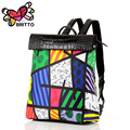 BRITTO New 2016 Printing Graffiti Owl Backpack Satin & PU Women Backpacks Travel Bag Girl Cartoon Bag Shoulder School Bag