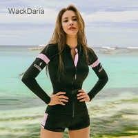 WackDaria femmes maillot de bain à manches longues 3 pièces éruptions cutanées patchwork solide imprimé sexy couleur noire maillot de bian femma été