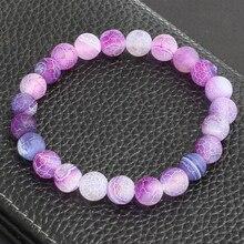 Будда молитва ювелирные изделия классический натуральный камень, фиолетовый выветривания браслеты для женщин мужчин Круглый браслет из бисера чакра Pulseras Hombre