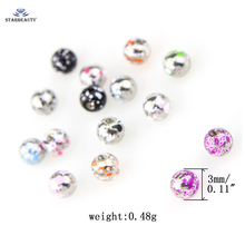 Wholesales 10pcs/lot 3/5mm Stainless Steel Piercing Ball 14/16G Lip Nose Tongue Belly Navel Ring Body Jewelry Piercing Parts(China)