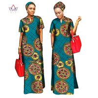2019 african styles clothing Women Riche Bazin Straight 100% Cotton Material Free Head Scarf Lady Long Dress Maxi Size WY843
