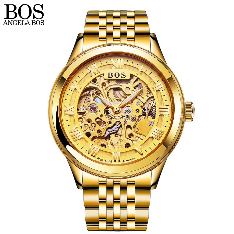 ANGELA BOS Luxury Brand Men Mechanical Automatic Stainless Steel Skeleton Waterproof Luminous Gold Watch Men Watch Clock Gift angela bos ceramics stainless steel skeleton automatic watch mens mechanical waterproof date week luminous wrist watches men