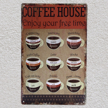 1 pc Italian Coffee Doppio Espresso cappuccino life Americano Tin Plate Sign wall Shop Menu Decoration Art Poster metal vintage
