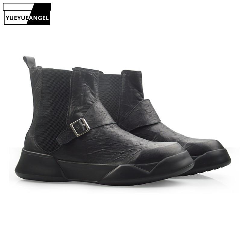 Britannique rétro 100% cuir véritable Chelsea bottes hommes automne hiver décontracté sans lacet bottines noir haut plate forme chaussures 38 44 - 2
