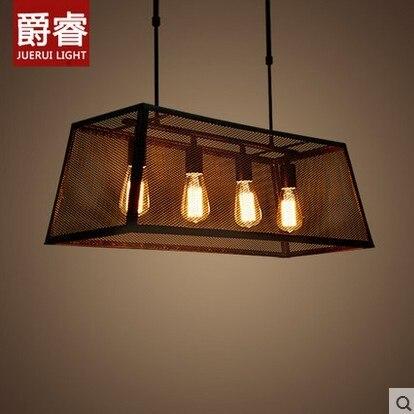 Modern Black Birdcage Pendant Lights Iron Box Retro Light Loft Metal Cage Hanging Lighting Lamp