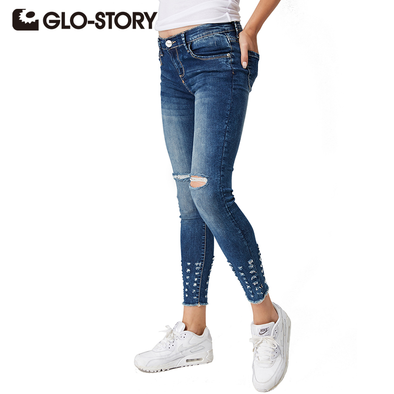 GLO STORY Tassel Jeans With Pockets chic Hole Women Jeans ...