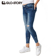 GLO-STORY Tassel Jeans With Pockets chic Hole Women Jeans 2017 Regular Jeans Mid Waist Washed Women Denim Pants WNK-3293
