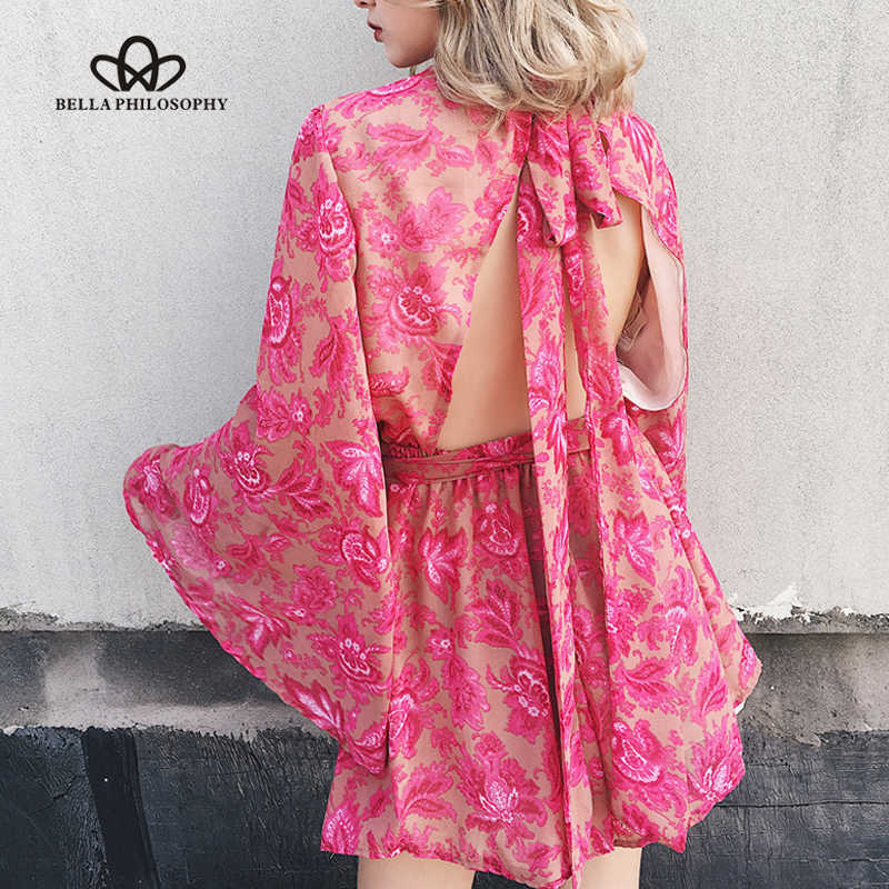 Bella Philosophy 2018 women summer beach back open rose pink print flare long sleeve chiffon jumpsuit rompers bow tie
