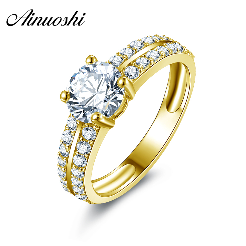 AINUOSHI 10k Solid Yellow Gold Young Lady Finger Rings 1 ct Round Cut Simulated Diamond Band 2 Rows Drill Women Wedding Ring ainuoshi 10k solid yellow gold wedding ring 2 ct round cut simulated diamond anel de ouro female wedding rings for women gifts