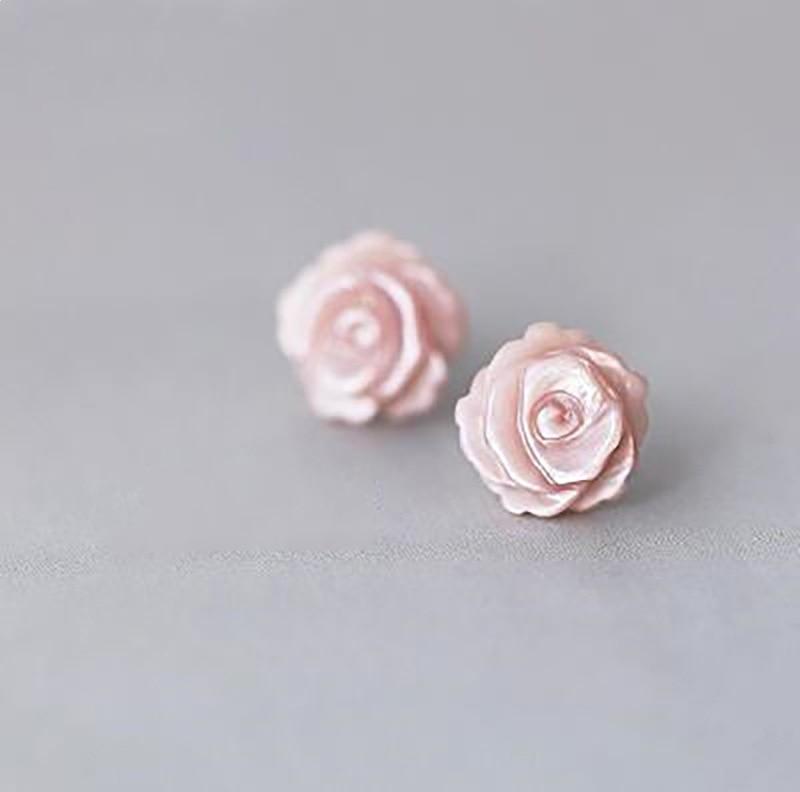 925 Sterling Silver Flower Stud Earrings For Women Minimalist Shell White Pink Rose Romantic Elegant Ear Ornaments Jewelry Gift