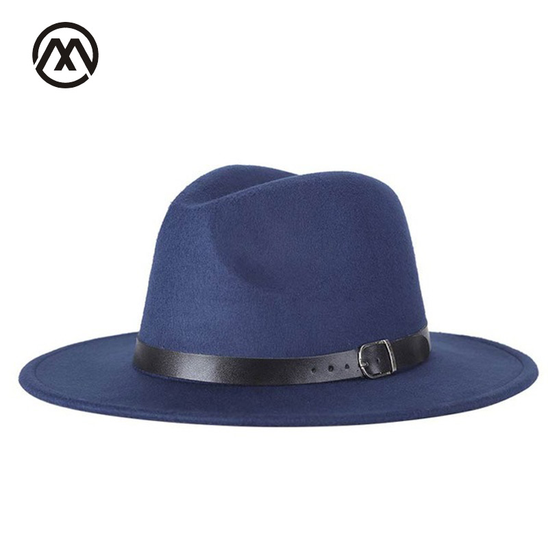 Neue herbst und winter herren fedora hüte unisex solide gürtel mode caps große größe warme und komfortable verstellbare wolle cowboy