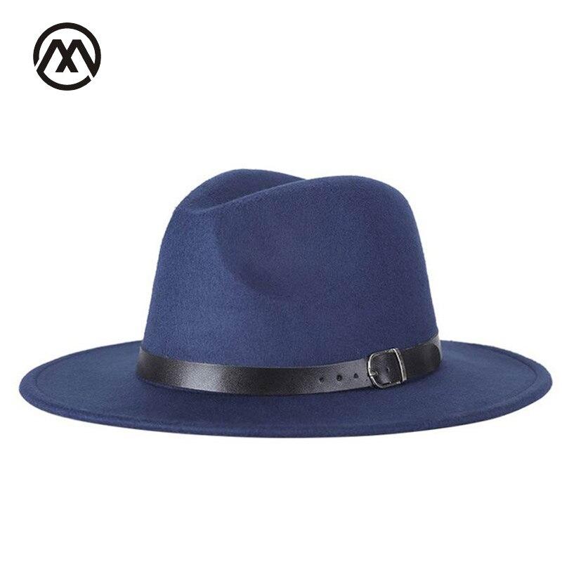 Nuovo autunno e uomini di inverno di trasporto di fedora cappelli unisex solido di modo della cinghia Cappellini di grandi dimensioni caldo e confortevole di lana regolabile cowboy