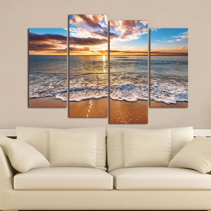 4 pieces Modular Pictures Modern Seascape Painting Canvas Art HD Sea - Home Decor - Photo 3