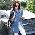 Mulheres Denim jaquetas de manga comprida moda casaco azul Denim calças de brim magros jaquetas para as mulheres roupas de alta qualidade Women ' s watch JN002