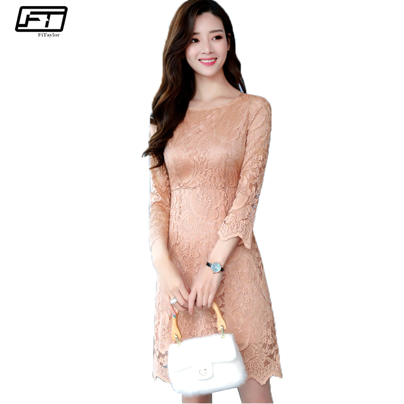 Fitaylor 2018 Spring Evening Party Lace Drsses Women Elegant Vintage Sexy & Club Floral  ...