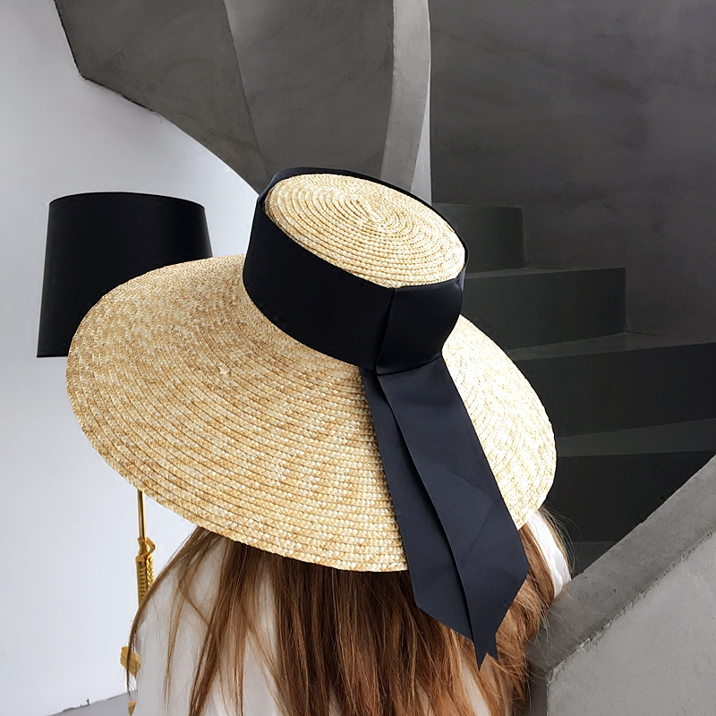 [La MaxPa] Fine Wheat Straw Hat Women Summer Beach Sun Hat Floppy Hat 2018 Fashion Wide Brim Nature Straw Sun Cap