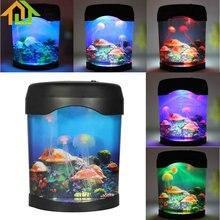 LED Light Jellyfish Tank Sea World Swimming Mood Lamp Night Light Aquarium Nightlight Festival Home Decor Light