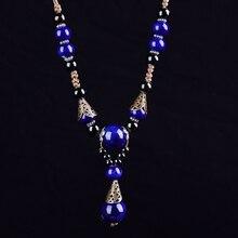 Винтажное керамическое ожерелье для женщин, ярко фарфоровый шар, подвеска, длинная веревочная цепочка, этнические ювелирные изделия, Модное Новое поступление