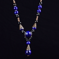 Vintage Ceramic Necklace For Woman Brightly Porcelain Ball Pendant Long Rope Chain Ethnic Jewelry Fashion New