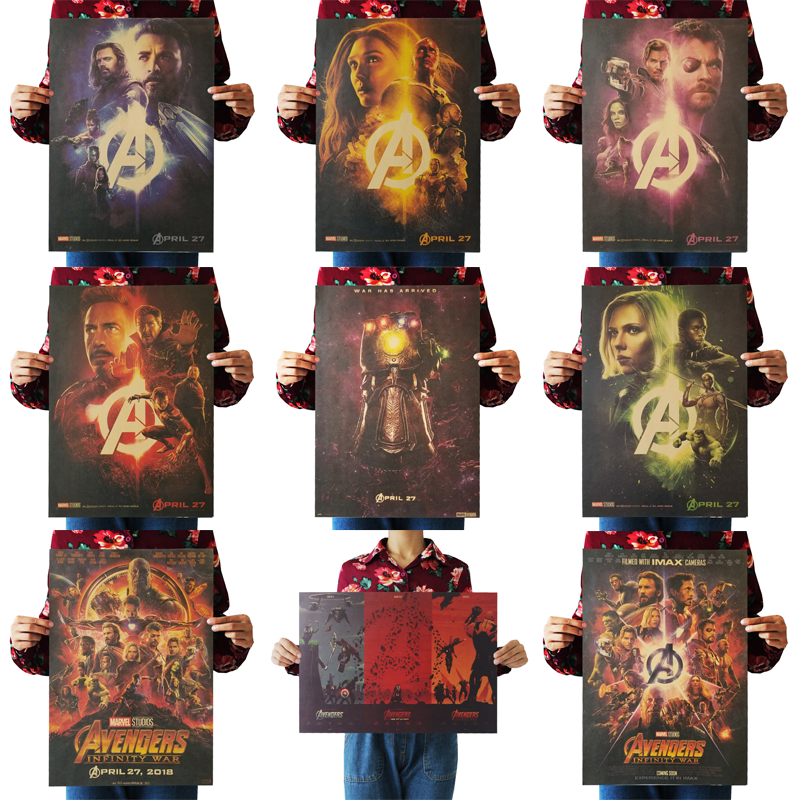 1PC 51.5x36cm Movie Poster Avengers Series Infinity War Retro Poster Wall Stickers For Living Room Home Decoration